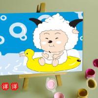 厂家供应DIY数字油画1015羊羊的糖果油画