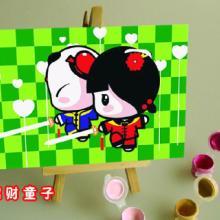 供应DIY油画1015 数字油画 手绘油画 招财童子 木架小板画批发