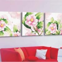 供应客厅装饰画 数字油画 DIY数字油画 三拼4040粉色山茶