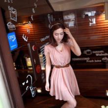 供应日系粉色雪纺连衣裙蓝蝶潮衣淘衣店各种款式不同风格您的橱衣柜批发