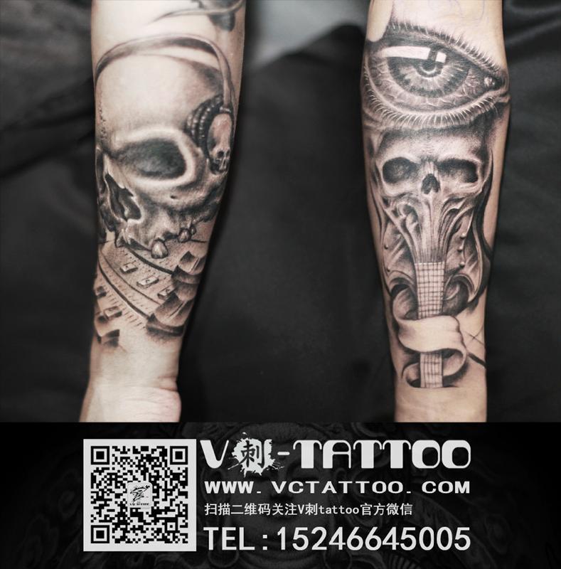 哈尔滨纹身专业刺青团队; 眼睛,骷髅,吉他的组合纹身.