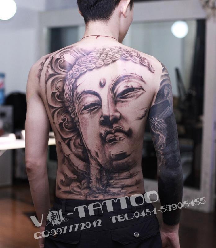 纹身满背佛-哈尔滨纹身