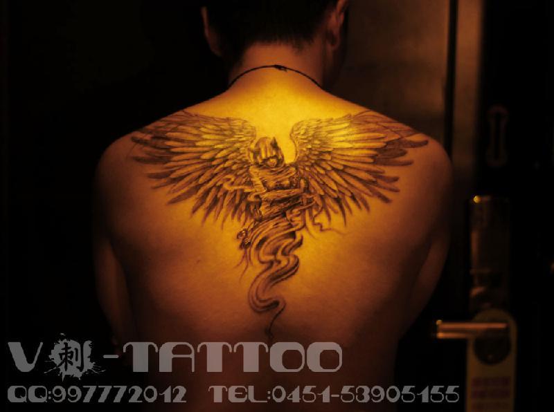 供应哈尔滨纹身欧美风格纹身堕落天使