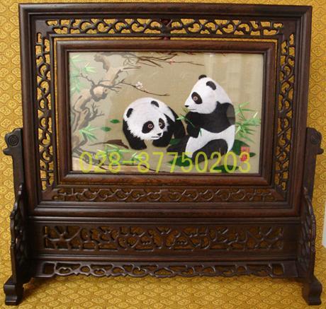 供应蜀绣摆件双面熊猫,四川工艺品,成都特色礼品,蜀锦蜀绣批发图片