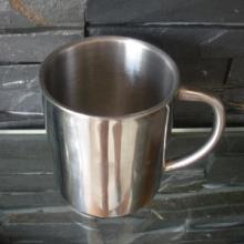 供应双层不锈钢咖啡杯 ,欧式纯色礼品杯,220ML不锈钢带手柄广口杯批发