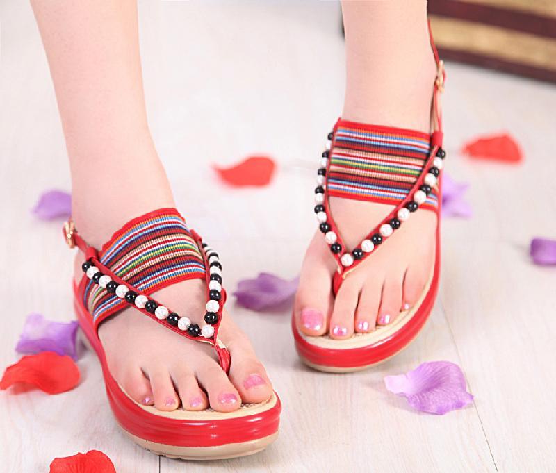 夏季波西米亚凉鞋平底