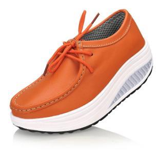 橘色牛皮摇摇鞋中跟厚底系带女鞋子图片