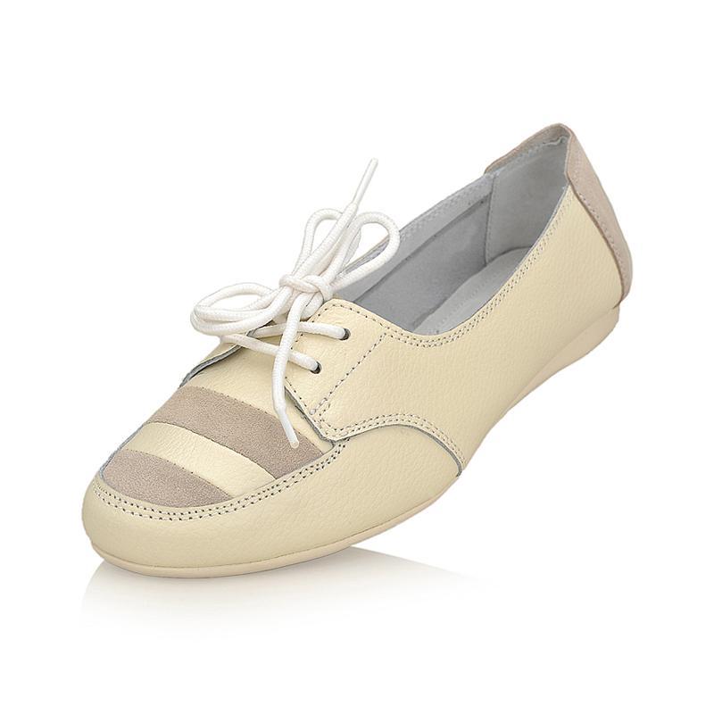 浅口圆头白色休闲鞋 牛反绒色拼接真皮女鞋子