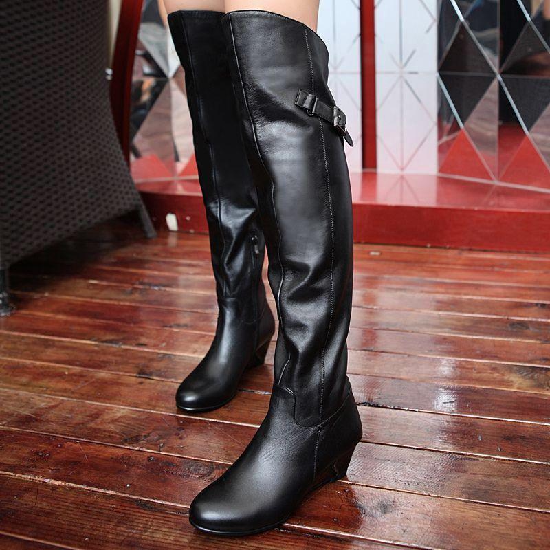 欧美 过膝/坡跟过膝超长靴欧美真皮靴 女士皮靴中跟长筒靴子侧拉链黑色女靴