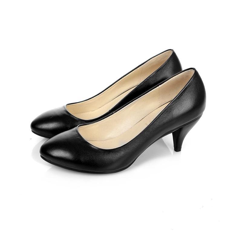 牛皮通勤女士黑色中跟鞋