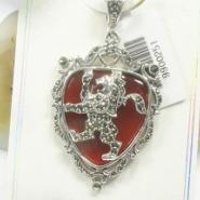 开光925银加红玛瑙宝石吊坠美容保图片