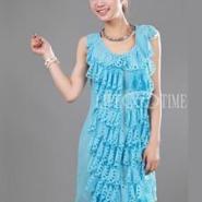 白色连衣裙儿童连衣裙夏装黑色蕾丝连雪纺连衣裙批发4