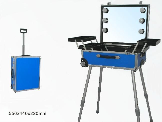 供应大型灯泡支架化妆箱 专业拉杆化妆箱 LED化妆台 梳妆台 化妆柜