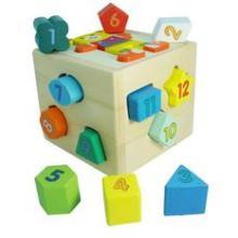 包多乐木质儿童益智玩具 小熊智力盒几何形状积木 1-2岁木制玩具