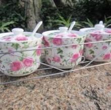 供应陶瓷调味罐-调味盒-