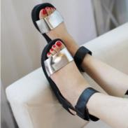 交叉罗马凉鞋厚底坡跟撞色松糕鞋图片