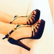 纯白色厚底套趾拖鞋欧美风粗跟高跟图片