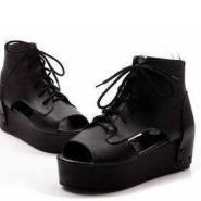 2012新款厚底鱼嘴鞋高跟凉鞋坡跟女图片