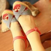 热销2012夏季欧美风情女装鞋罗马鞋柜女鞋子坡跟凉鞋露趾鱼口凉鞋批发