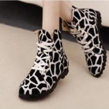 供应秋季新款单鞋时尚潮流韩版女短靴可爱条纹斑马线休闲平底女鞋批发