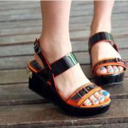 2012夏季新款拼色厚底鞋凉鞋图片
