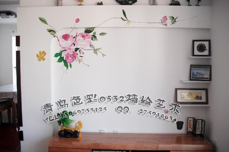 供应青岛电视背景墙彩绘图片