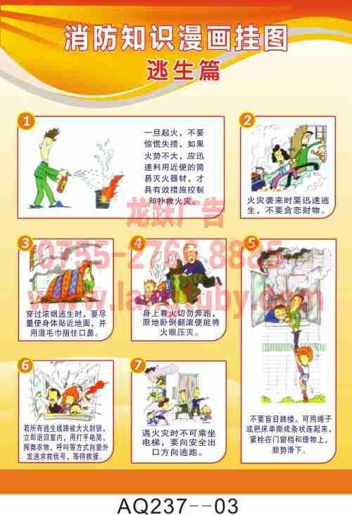 供应消防知识漫画挂图图片