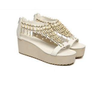 凉鞋图片|凉鞋样板图|2012女王气质最新跛跟拼色凉鞋