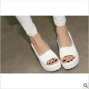 白色单鞋新品欧美高跟鞋粗跟牛皮凉图片