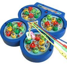 益智玩具 电动钓鱼玩具喜羊羊四盘钓鱼小猫钓鱼盘识颜色