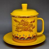 供应陶瓷厂家直销黄金龙茶杯