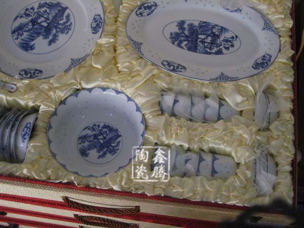 供应景德镇厂家直销陶瓷餐具 青花玲珑餐具