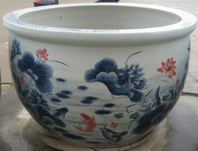 供应140厘米荷花图案陶瓷鱼缸