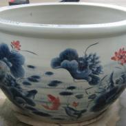 140厘米荷花图案陶瓷鱼缸图片