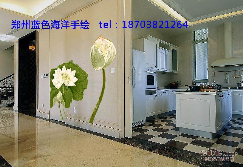 供应郑州手绘墙-蓝色海洋手绘家庭墙绘