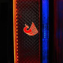 供应晋城双饰面包厢门 KTV不锈钢发光门——杭艺门业图片
