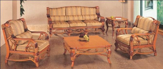 供应昆明盘龙藤椅-亚历山大藤木沙发图片