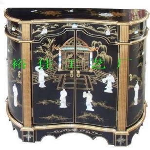 黑色漆器镶贝壳玄观桌图片