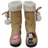 百分百保暖漫儿精品厚底手绘雪地靴图片