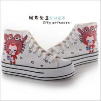 城市公主新款最潮流手绘涂鸦帆布鞋