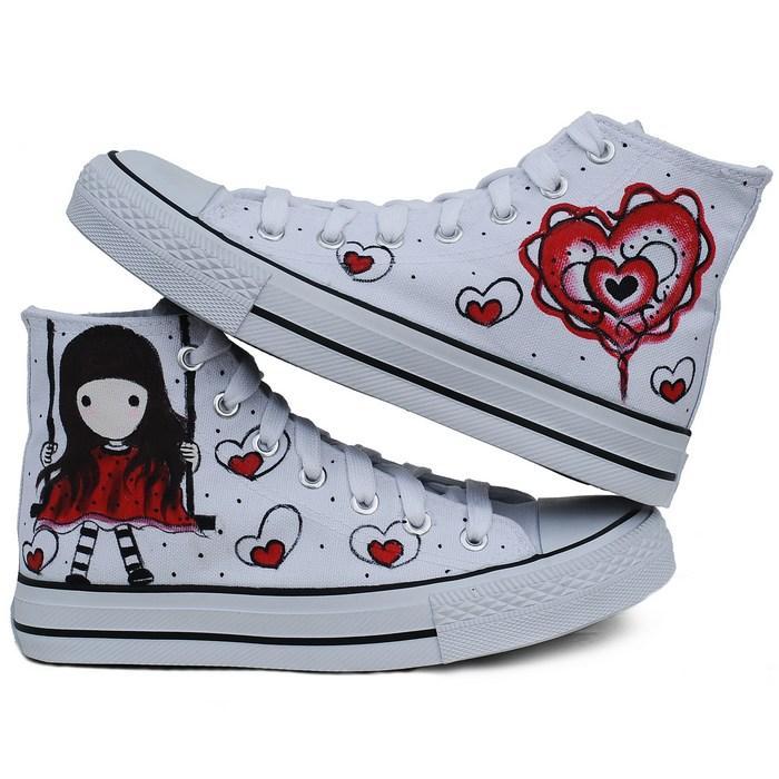 流女孩手绘鞋报价
