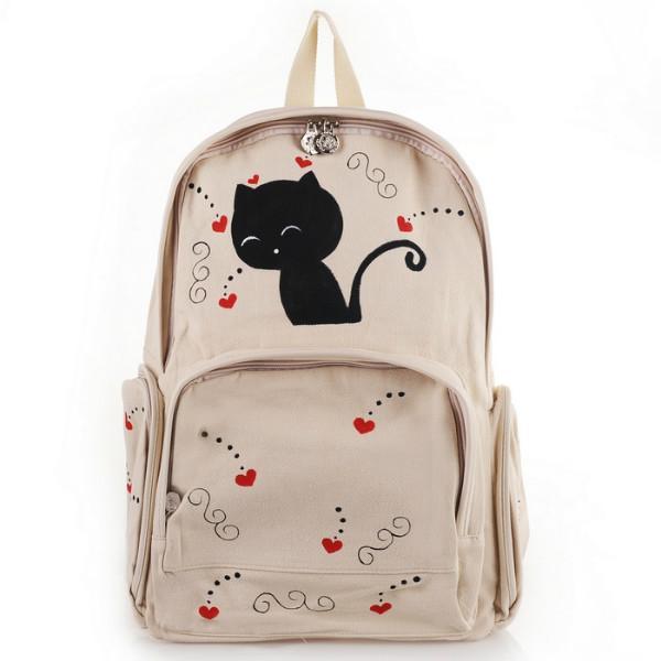 供应韩版可爱卡通红心猫咪手绘棉布书包