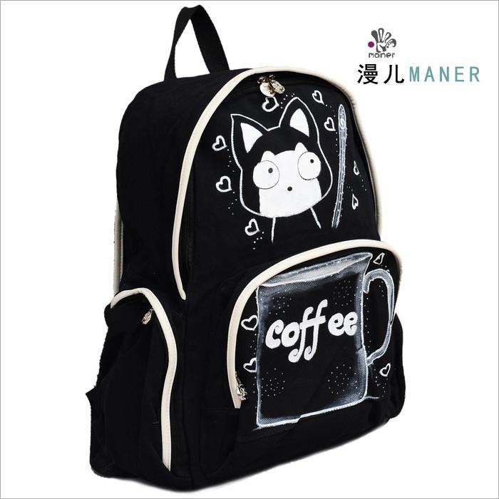 双肩包图片|双肩包样板图|秋季热卡通小猫新版手绘包