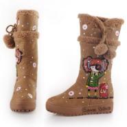 2012新款女靴保暖鞋手绘高筒雪地靴图片