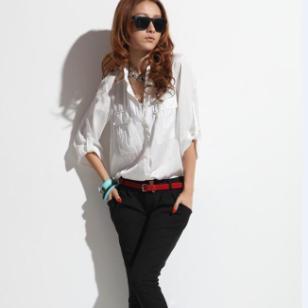 鹿曼衬女OL通宽松衬衫中袖韩版双图片