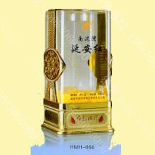 供应郓城白酒玻璃瓶包装用亚克力透明圆角带套透明酒盒批发