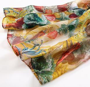 图案 雪纺/雪纺数码喷绘长巾小草莓图案