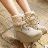 毛毛雪地靴超高跟防水台坡跟图片