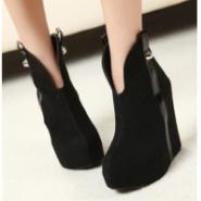冬款韩版中帮U型鞋坡跟高跟厚底图片