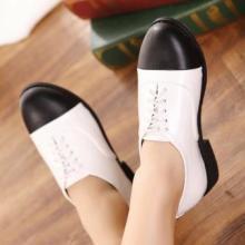 供应2013欧美VIVI杂志款英伦复古低跟原宿单鞋学院风系带拼色批发